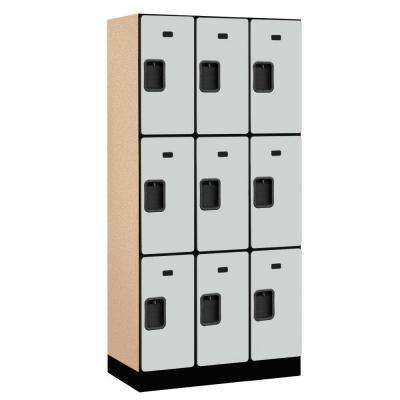 33000 Series 36 in. W x 76 in. H x 18 in. D 3-Tier Designer Wood Locker in Gray