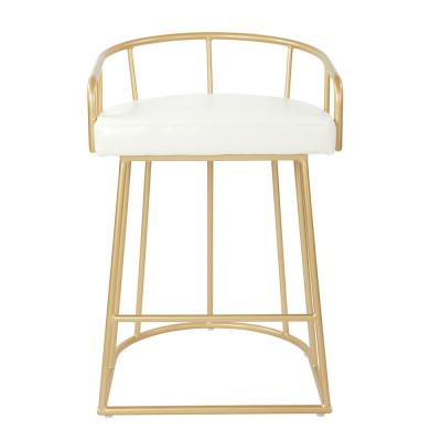Luna 26 in. White Faux Leather with Gold Base Counter Stool