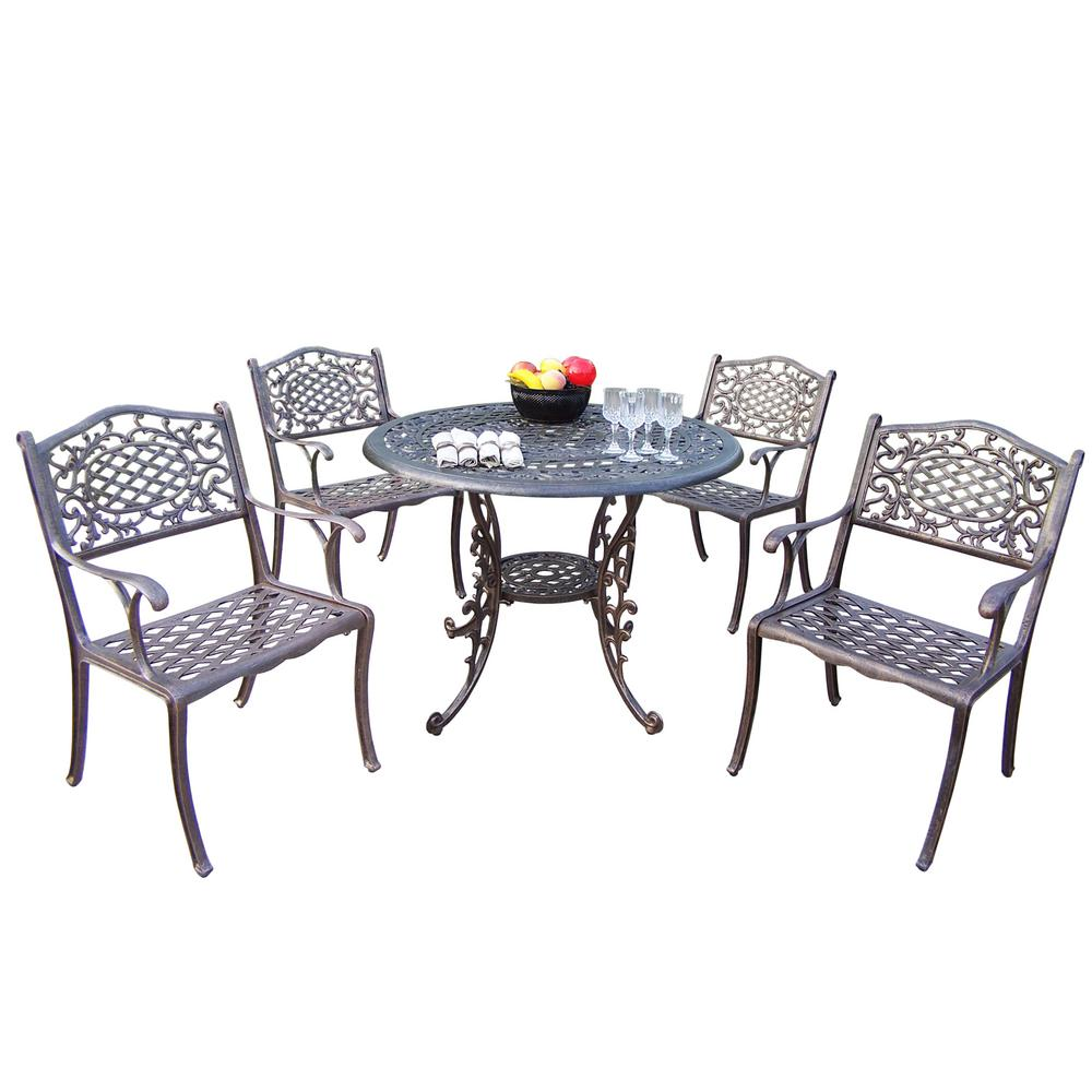 Antique Bronze 5-Piece Aluminum Outdoor Dining Set
