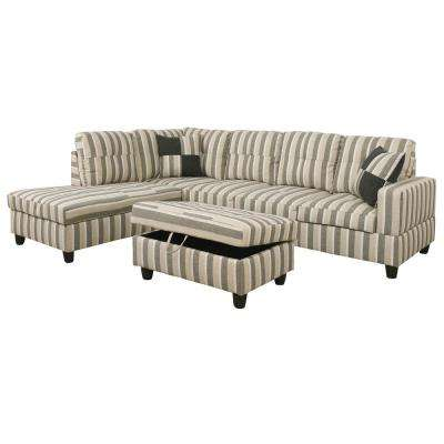 Brown Striped Right Chaise Sectional With Storage Ottoman