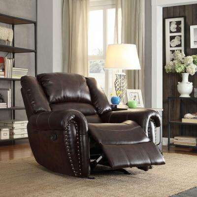Merida Chocolate Bonded Leather Recliner & Recliner - Living Room Furniture - Furniture - The Home Depot islam-shia.org