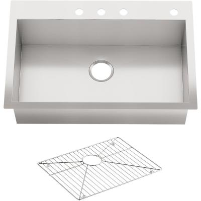 Vault Dual Mount Stainless Steel 33 in. 4-Hole Single Bowl Kitchen Sink with Basin Rack