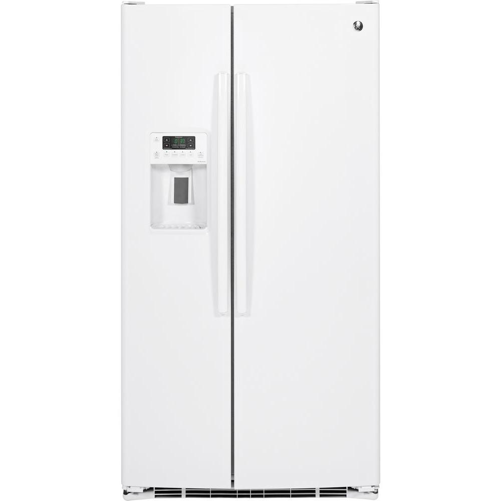ge adora 25 4 cu ft side by side refrigerator in white dse25jghww the home depot. Black Bedroom Furniture Sets. Home Design Ideas