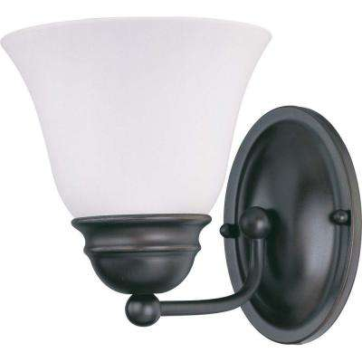 1-Light Mahogany Bronze Vanity Light with Frosted White Glass