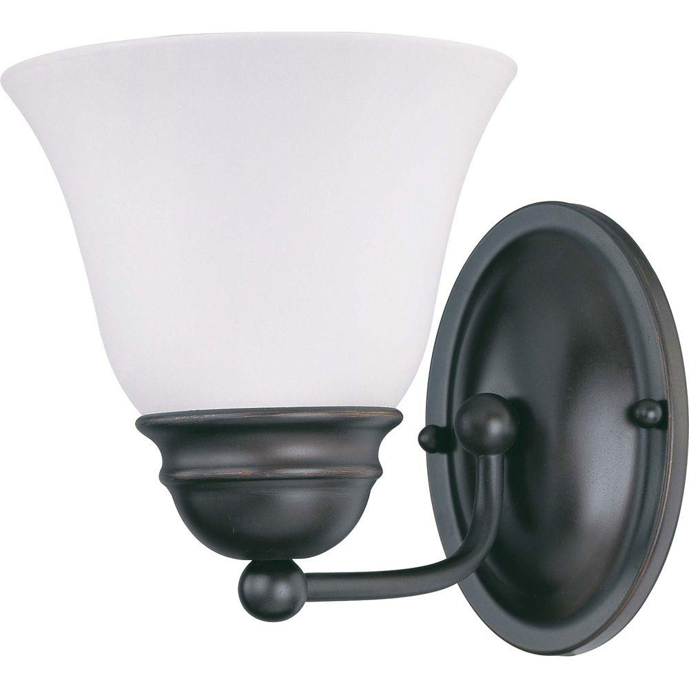 Glomar 1-Light Mahogany Bronze Vanity Light with Frosted White Glass