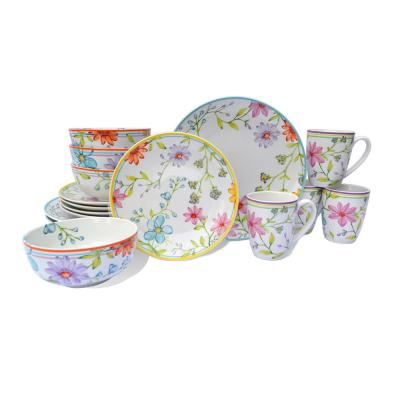 Charlotte 16-Piece Floral Multicolor Stoneware Dinnerware Set (Service for 4)