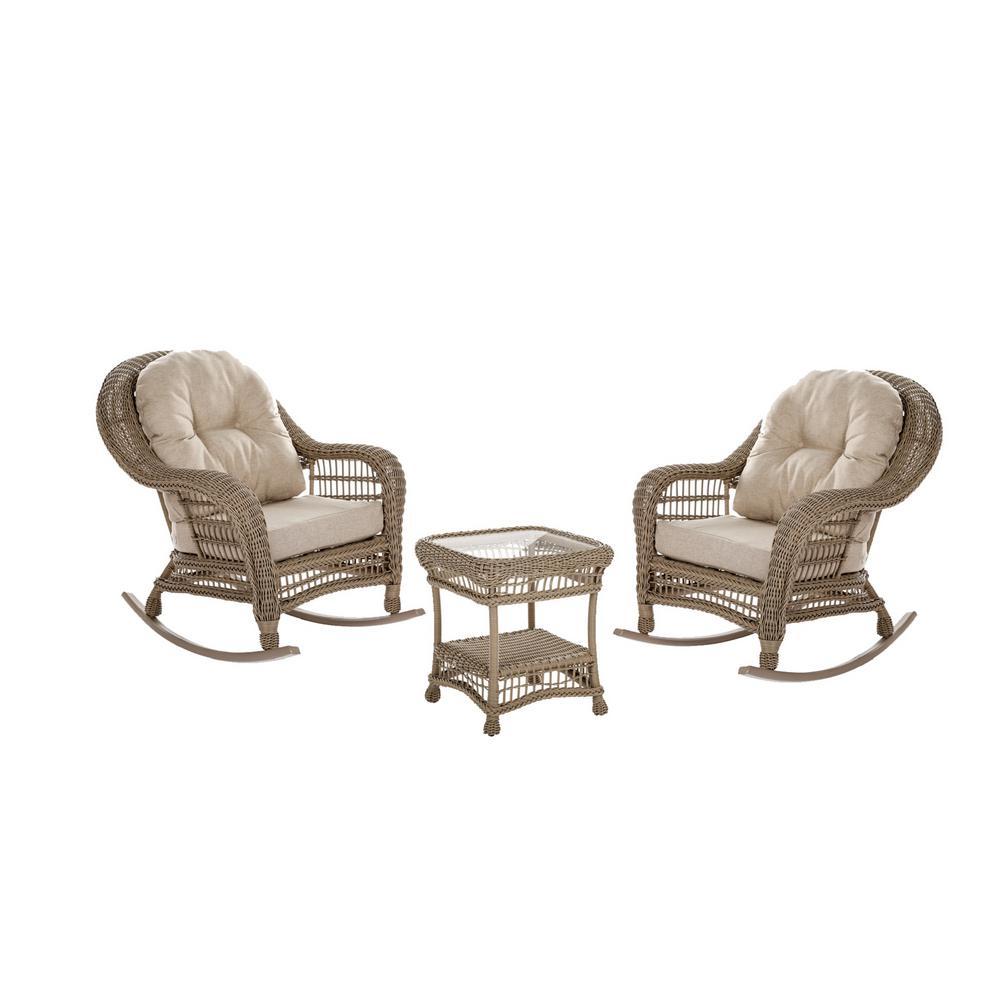Saturn 3-Piece Wicker Patio Conversation Set with Beige Cushions