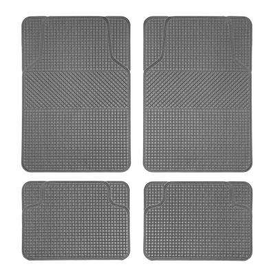 Gray Durable 4-Pieces 28 in. x 18 in. Anti-Slip All Weather Rubber Floor Mats