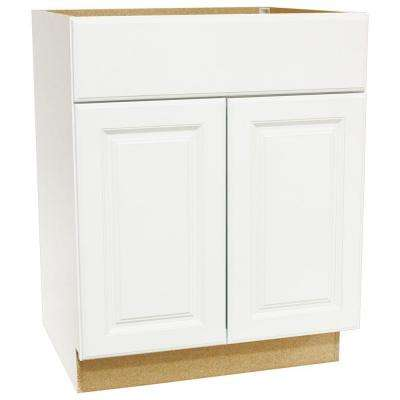 Hampton Assembled 27x34.5x24 in. Base Kitchen Cabinet with Ball-Bearing Drawer Glides in Satin White