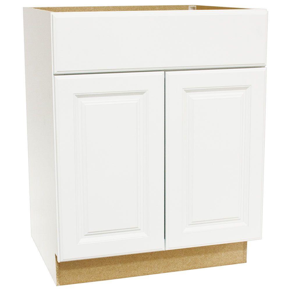 Hampton Bay Hampton Assembled 27x34.5x24 in. Base Kitchen Cabinet with Ball-Bearing Drawer Glides in Satin White -  KB27-SW