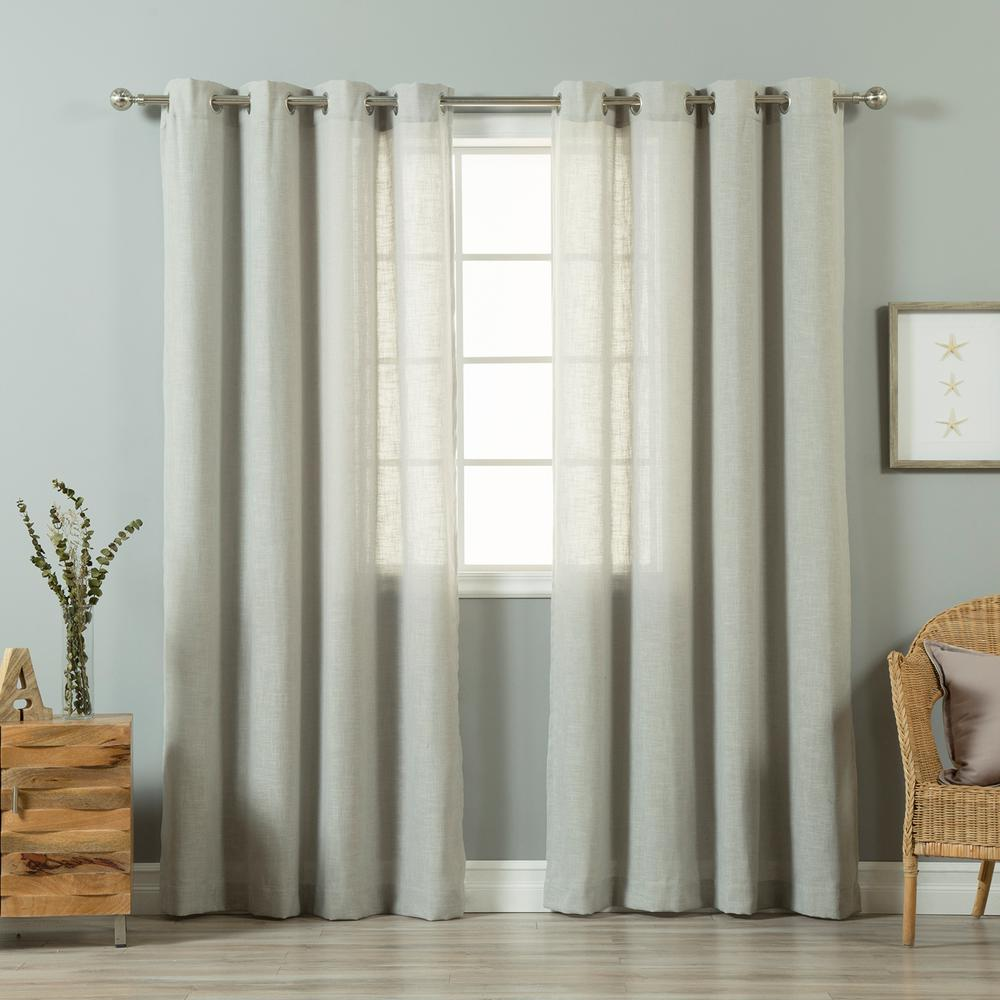grey linen curtains sheer grey linen blend curtain panel 2pack best home fashion 84 in