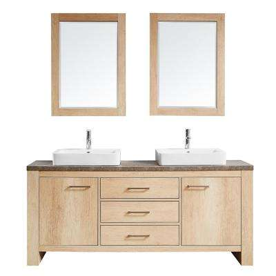 Alpine 72 in. W x 21 in. D Bath Vanity in Oak with Melamine Vanity Top in Rustic Marble with White Basins and Mirrors