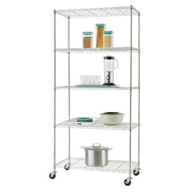 75 in. H x 36 in. W x 18 in. D 5-Tier NSF Wire Shelving Rack in Chrome