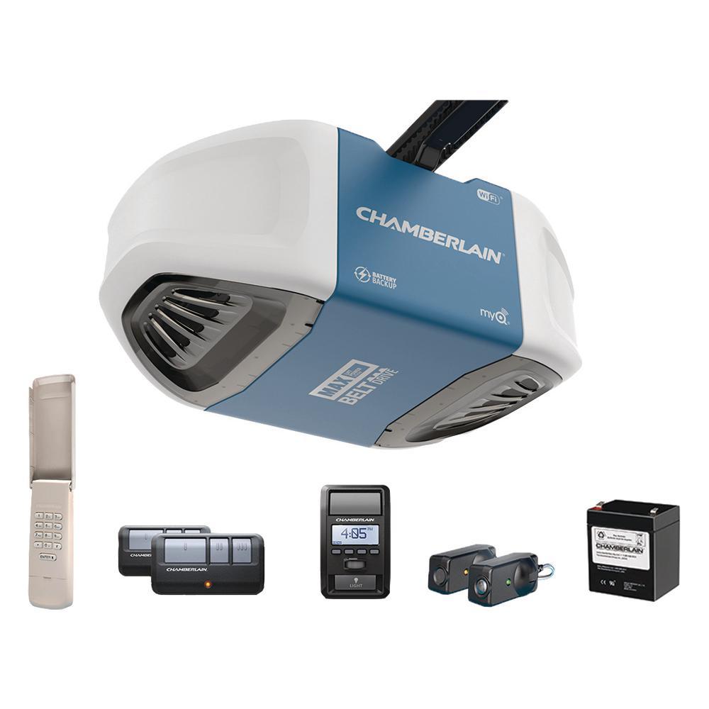 1-1/4 HP Equivalent Ultra-Quiet Belt Drive Smart Garage Door Opener with Battery Backup