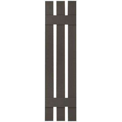 12 in. x 27 in. Lifetime Vinyl Custom Three Board Spaced Board and Batten Shutters Pair Musket Brown