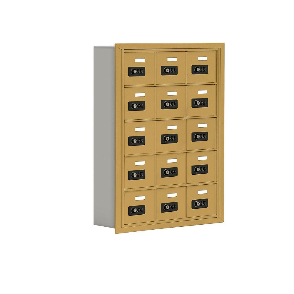 Salsbury Industries 19000 Series 24 in. W x 31 in. H x5.75 in. D 15 A Doors R-Mount Resettable Locks Cell Phone Locker in Gold