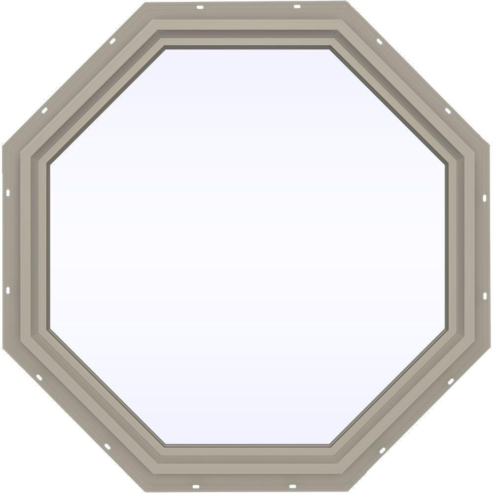 35.5 in. x 35.5 in. V-4500 Series Fixed Octagon Vinyl Window - Tan