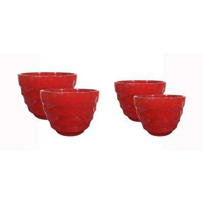 Athena 16 in. Dia and 20 in. Dia Ruby Resin Decorative Planter (4-Pack)