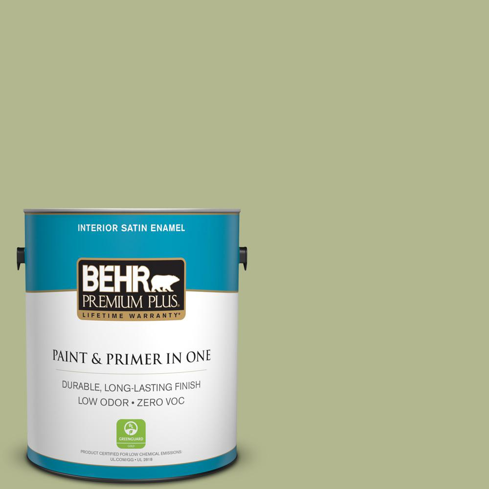BEHR Premium Plus 1-gal. #HDC-SP14-1 Secret Glade Zero VOC Satin Enamel Interior Paint