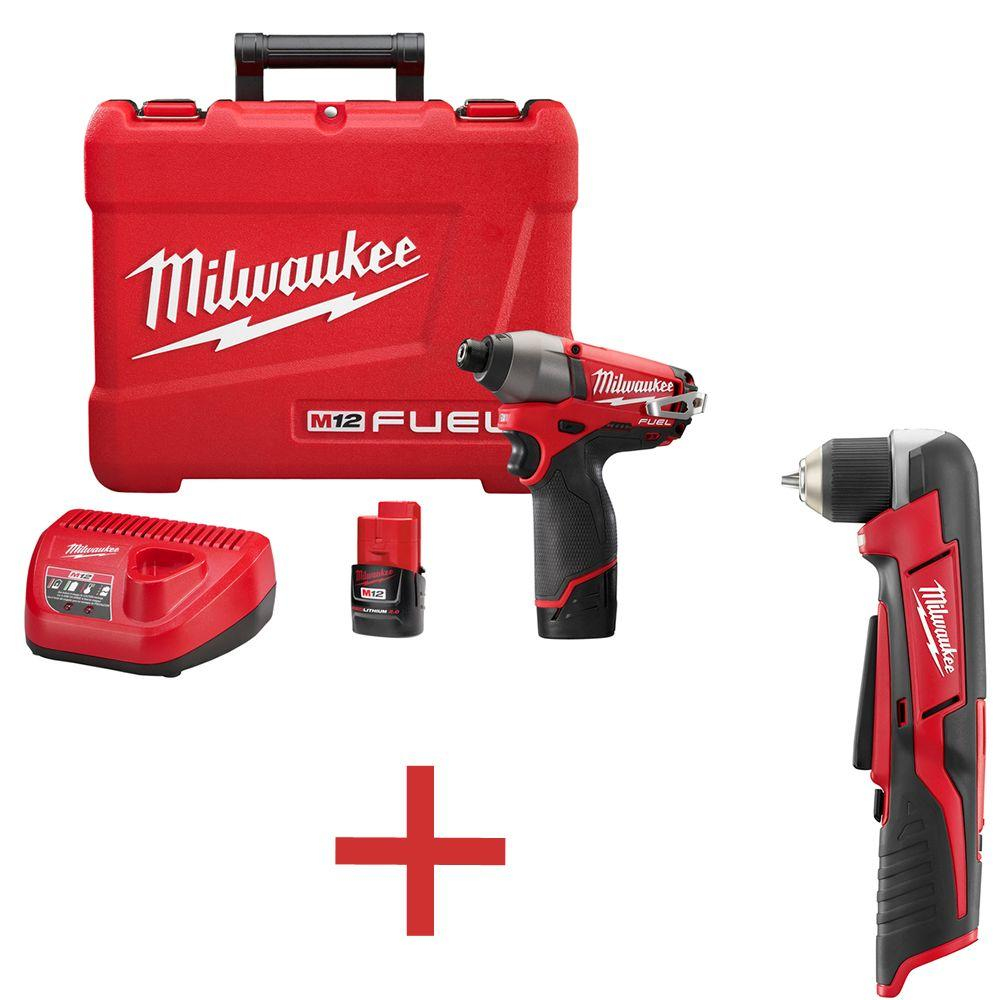 Milwaukee M12 FUEL 12-Volt Cordless 1/4 in. Hex Impact Driver Kit with Free M12 3/8 in. Right Angle Drill (Tool-Only)