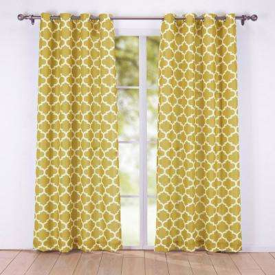 84 in. Decorative Window Geometric Semi-Sheer Grommet Curtain Panel in Gold