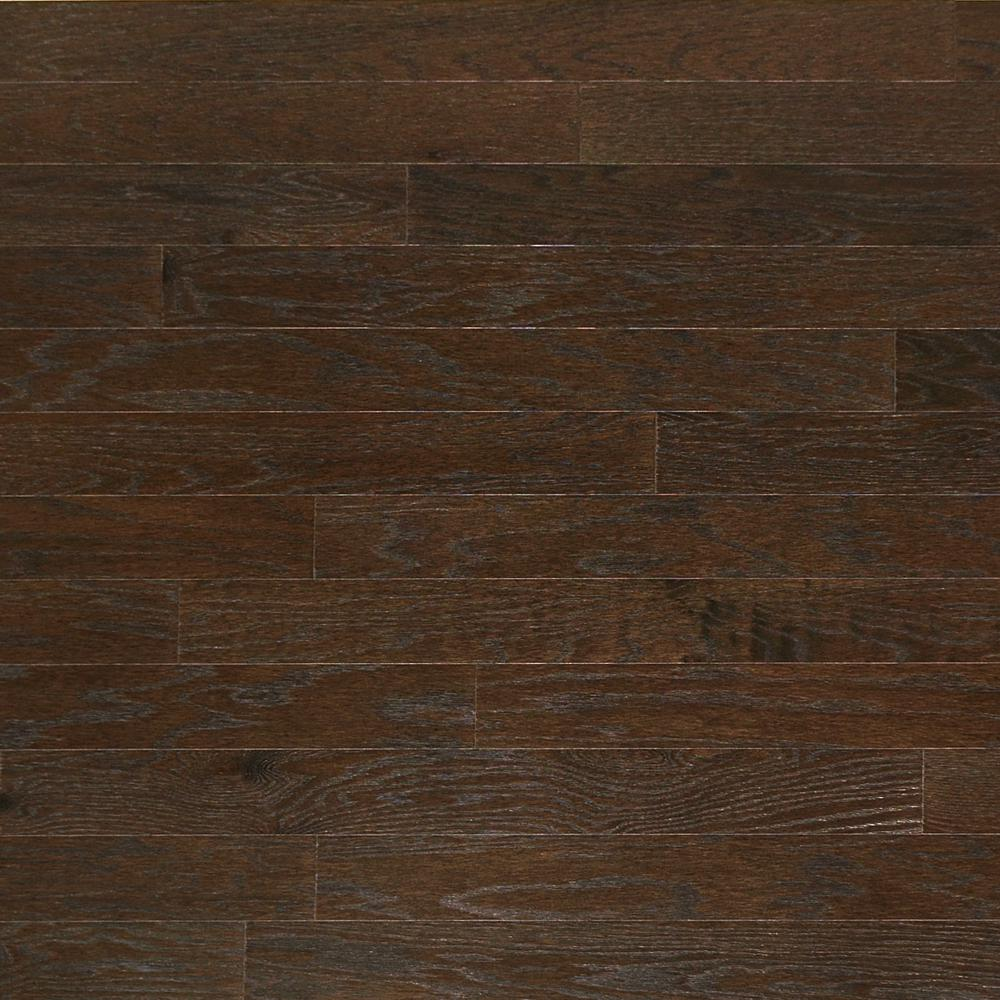 Heritage Mill Take Home Sample Brushed Oak Graphite Engineered Click Hardwood Flooring 5 In. X 7 In., Grey