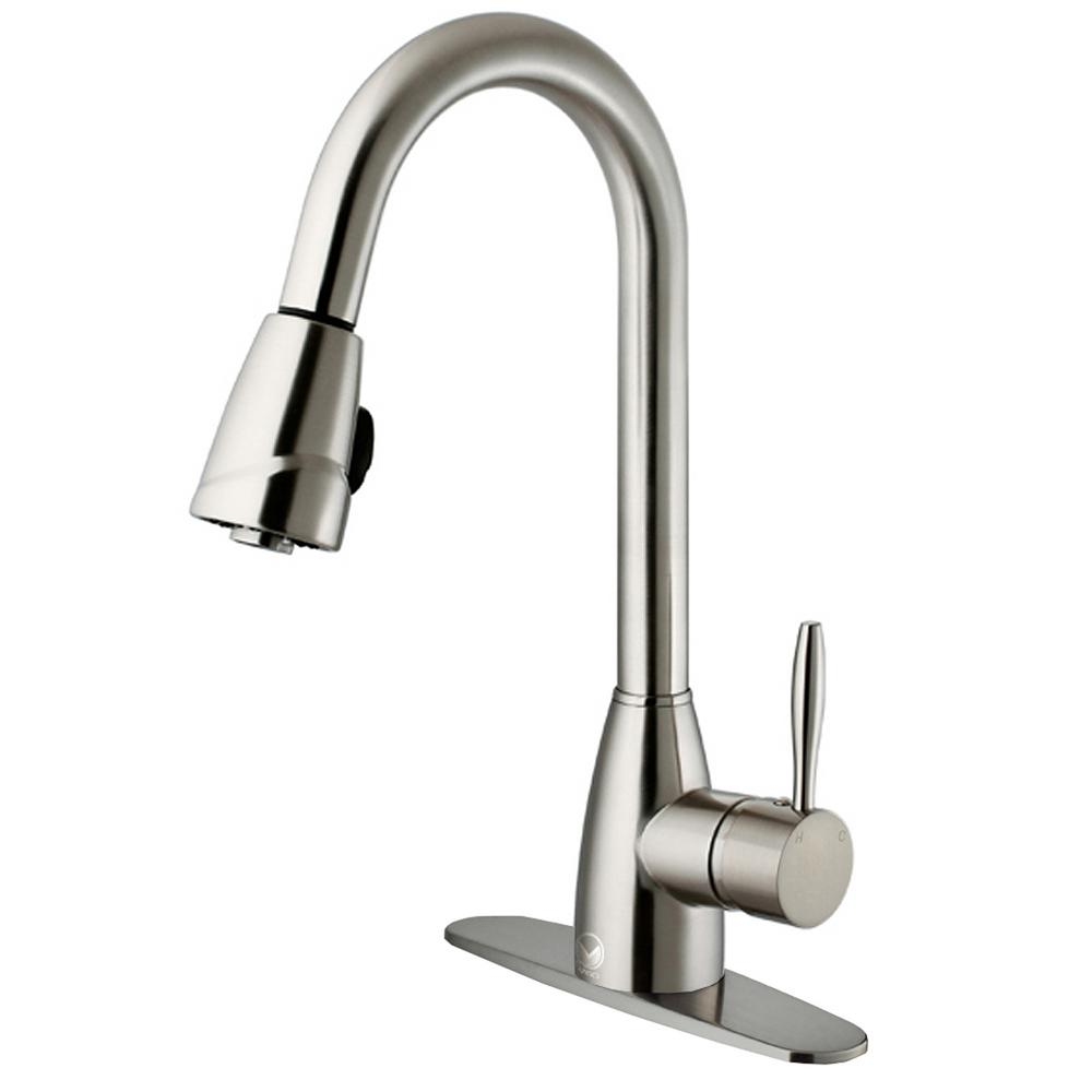VIGO Graham Single-Handle Pull-Down Sprayer Kitchen Faucet with Deck ...