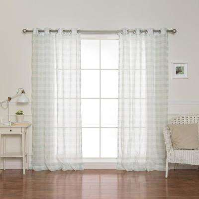 84 in. L Sheer Watercolor Plaid Grommet Curtains in Green (2-Pack)