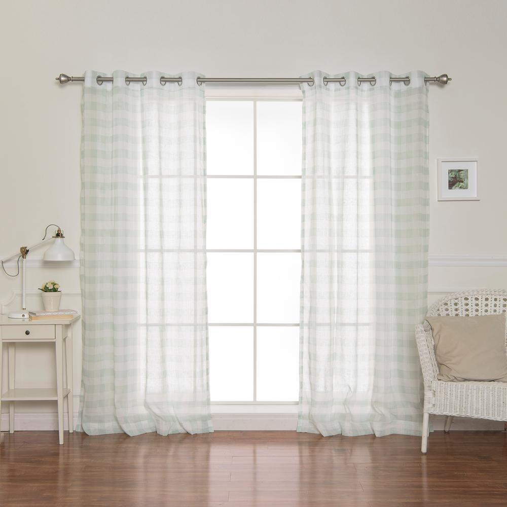84 in. L Sheer Watercolor Plaid Grommet Curtains in Green (2-Pack)
