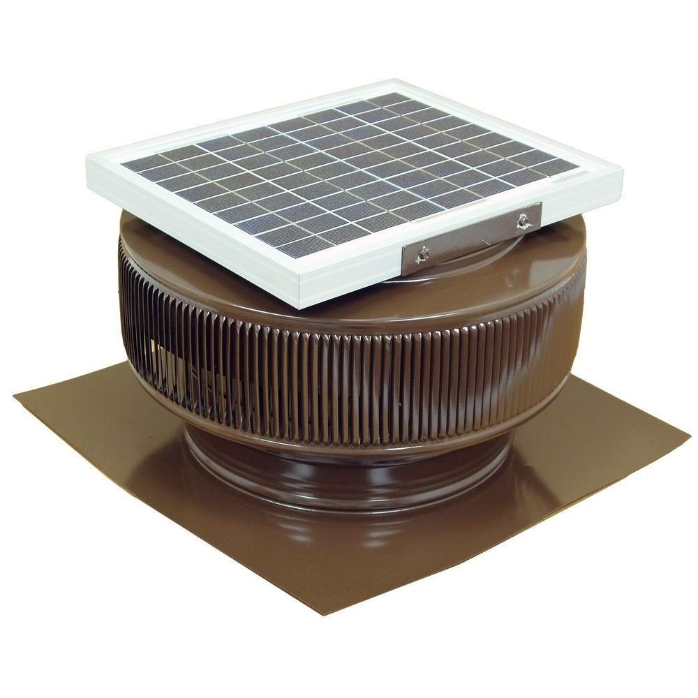 Active Ventilation 740 CFM Brown Powder Coated 10-Watt Solar Powered 12 in. Dia. Roof Mounted Attic Exhaust Fan