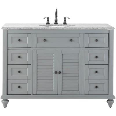 Hamilton Shutter 49.5 in. W x 22 in. D Bath Bath Vanity in Grey with Granite Vanity Top in Grey with White Sink