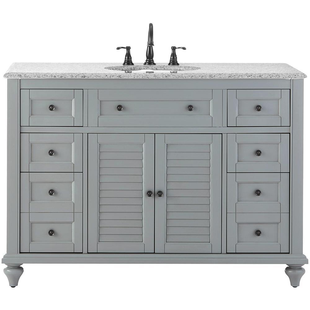Hamilton Shutter 49.5 in. W x 22 in. D Bath Bath Vanity in Grey with Granite Vanity Top in Grey with White Sink