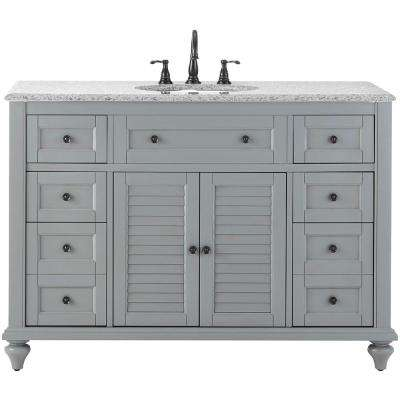 Hamilton Shutter 49.5 in. W x 22 in. D Bath Bath Vanity in Grey with Granite Vanity Top in Grey with White Basin