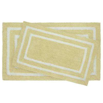 Reversible Cotton Soft Double Border Banana 2-Piece Bath Mat Set