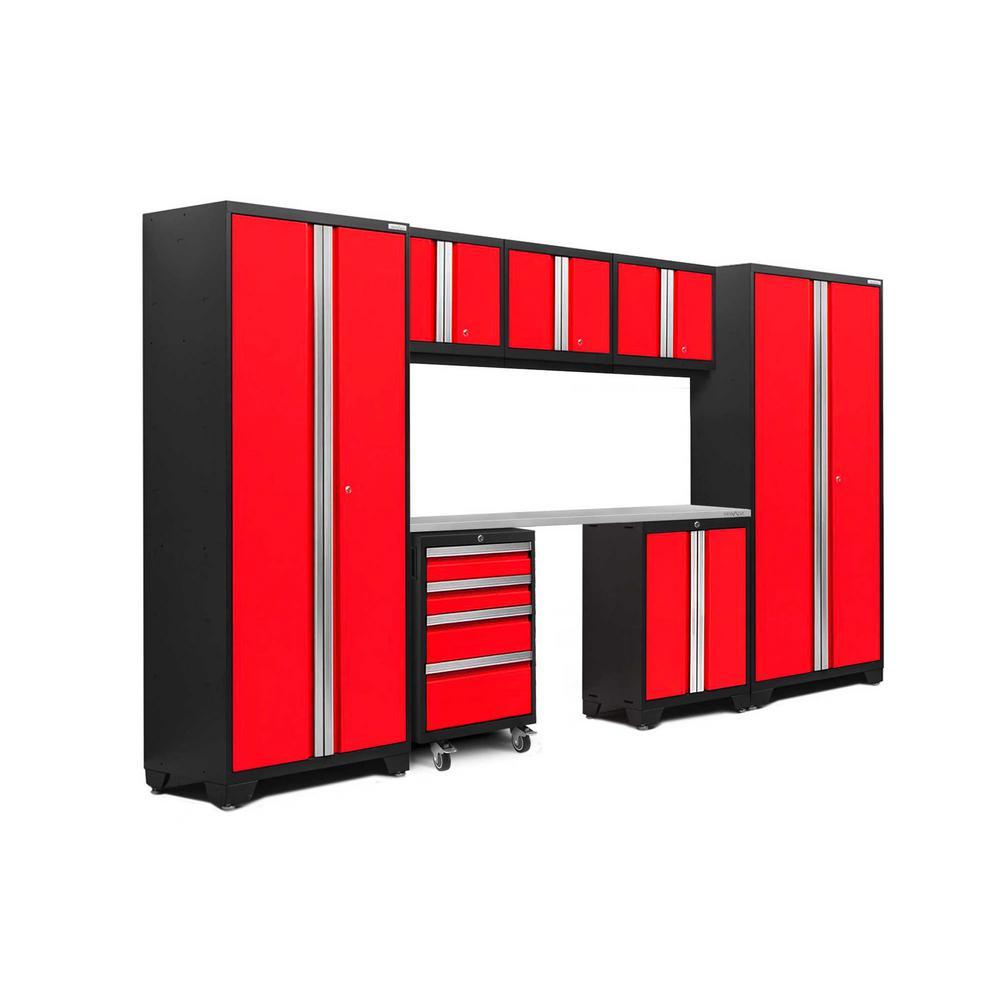 Bold 3.0 77.25 in. H x 132 in. W x 18 in. D 24-Gauge Welded Steel Stainless Steel Worktop Cabinet Set in Red (8-Piece)