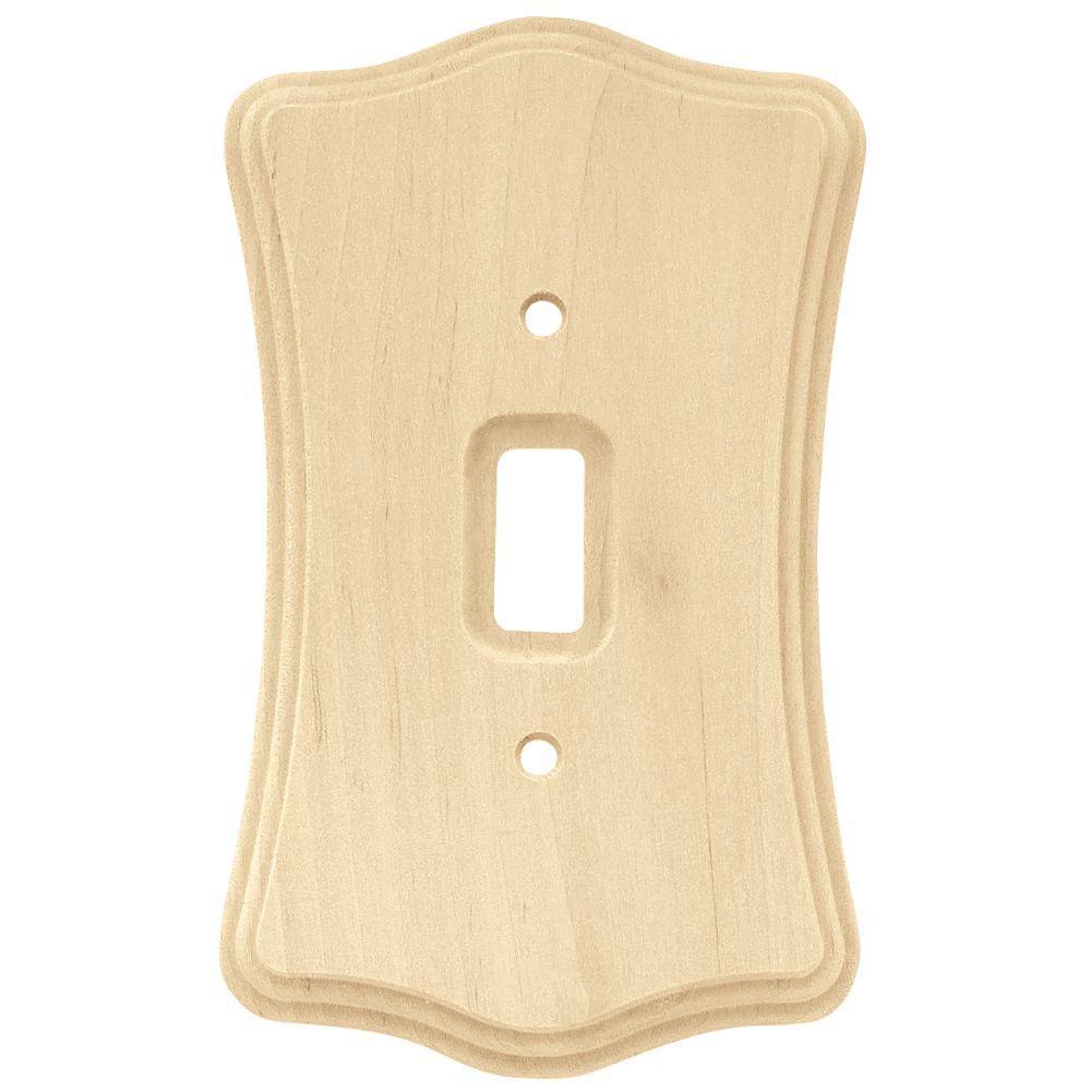 Liberty Wood Scalloped 1 Toggle Switch Wall Plate - Un-Finished Wood