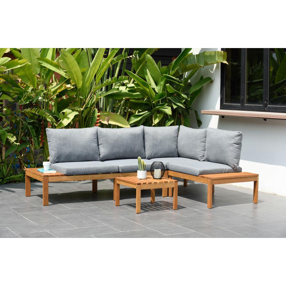 Molokai 3-Piece Wood Patio Conversation Set with Grey Cushions