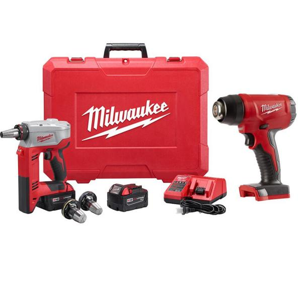 M18 18-Volt Lithium-Ion Cordless 3/8 in. to 1-1/2 in. Expansion Tool Kit with 3 Heads, Two 3.0 Ah Batteries and Heat Gun