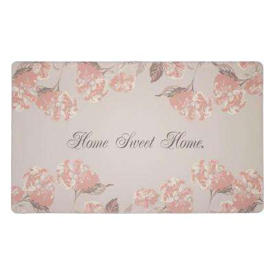 Hydrangea Dove Grey 20 in. x 32 in. PVC Anti-Fatigue Comfort Kitchen Mat