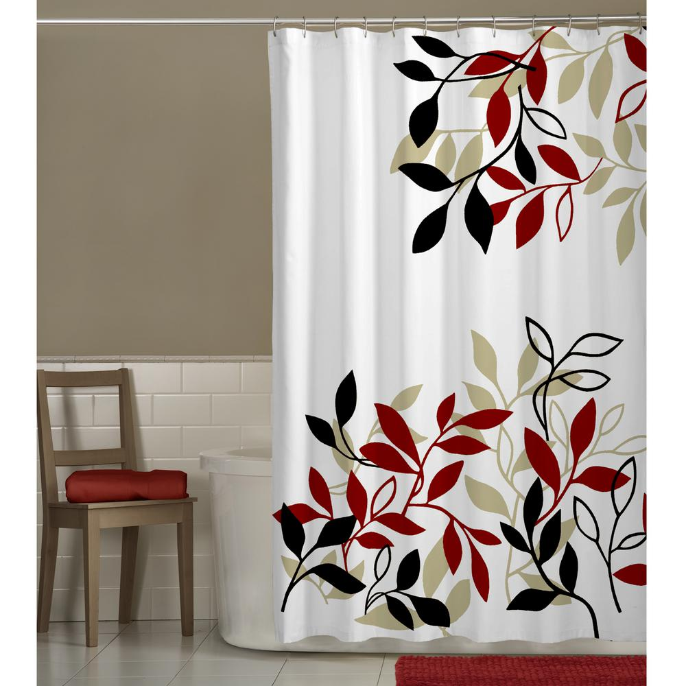 Maytex 70 In X 72 Satori Leaves Fabric Shower Curtain