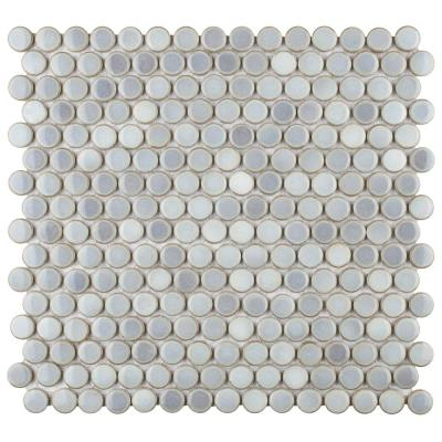 Hudson Penny Round Grey Eye 12 in. x 12-5/8 in. x 5 mm Porcelain Mosaic Tile