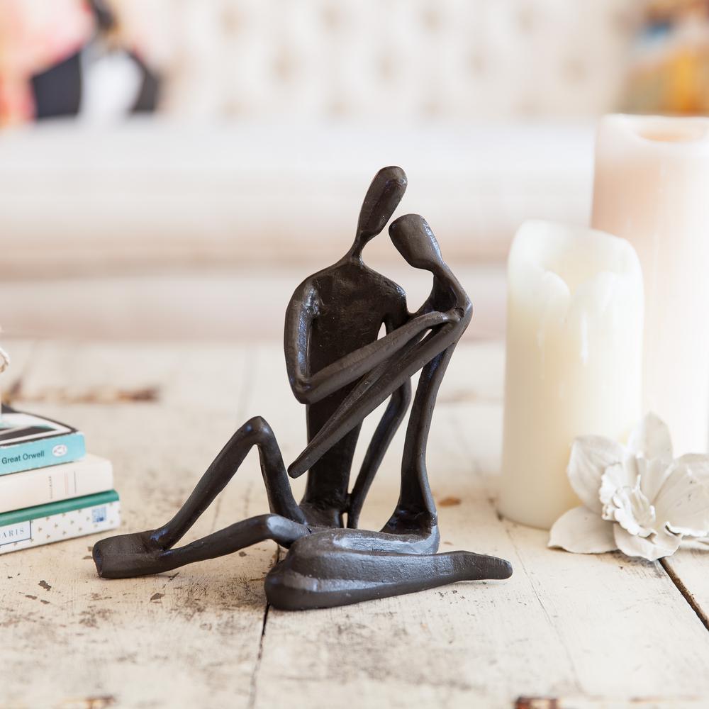 Couple Embracing Cast Iron Sculpture