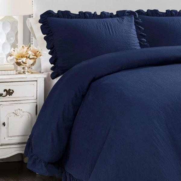 Lush Decor Reyna Comforter Navy 3 Piece