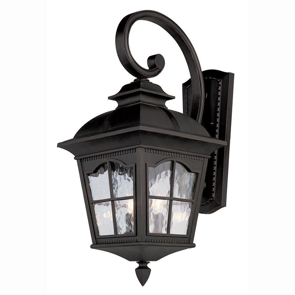 Bostonian 2-Light Outdoor Black Coach Lantern with Water Glass