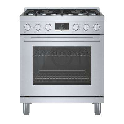 30 in. 3.7 cu. ft. Industrial Style Gas Range with 5-Burners in Stainless Steel