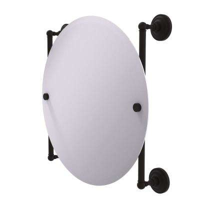 Que New Collection Round Frameless Rail Mounted Mirror in Oil Rubbed Bronze