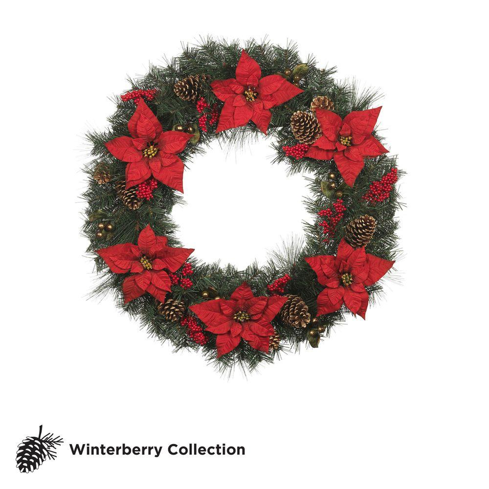 Martha Stewart Living Winterberry 36 in. Red Poinsettia Artificial Wreath with Berries and Pinecones