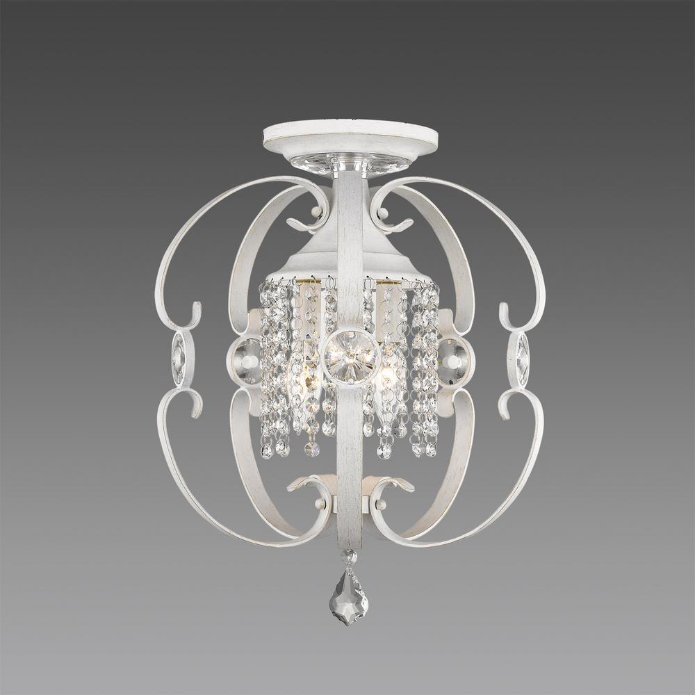 Ella 3-Light French White Semi-Flushmount Light