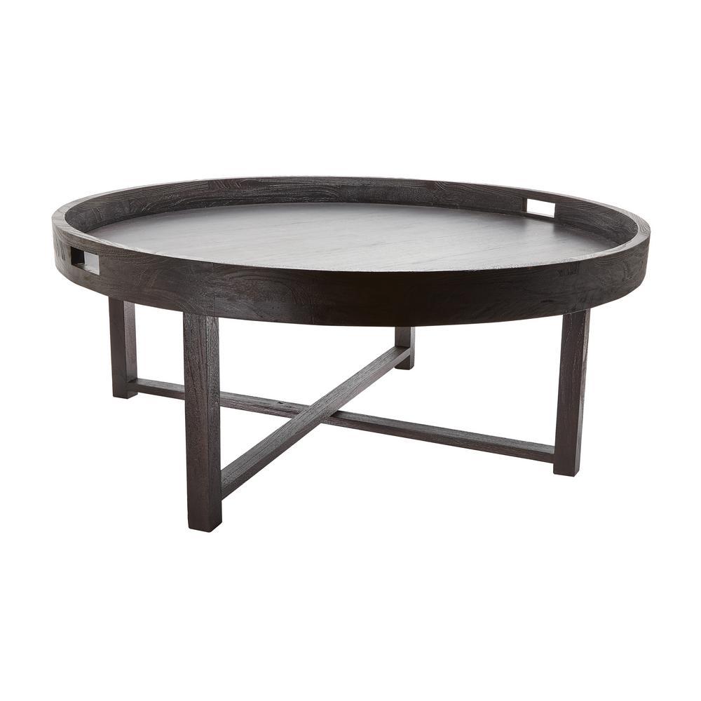Titan Lighting Round Brown Teak Coffee Table