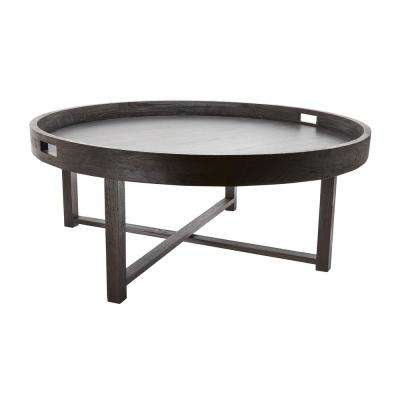 Round Brown Teak Coffee Table